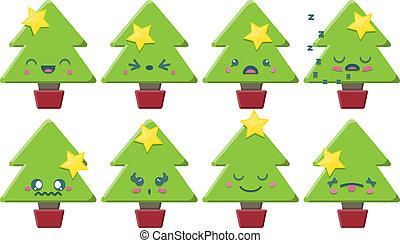 árbol, conjunto, navidad, caricatura, kawaii