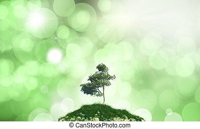 árbol, contra, defocussed, colina, plano de fondo, 3d