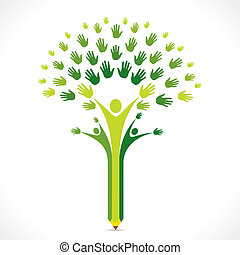 árbol, creativo, lápiz, mano, niños