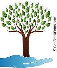 árbol, cuidado, logotipo