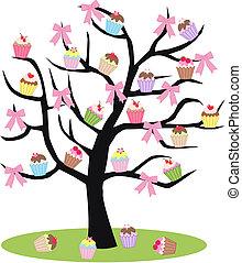 árbol, cupcake
