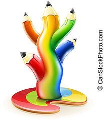 árbol, de, color, lápices, creativo, arte, concepto