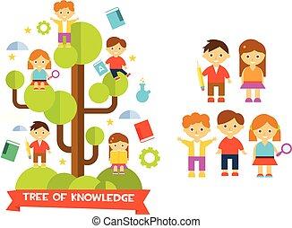 árbol de conocimientos, con, niños, anuncio, niñas, educación, concepto, vector, ilustración