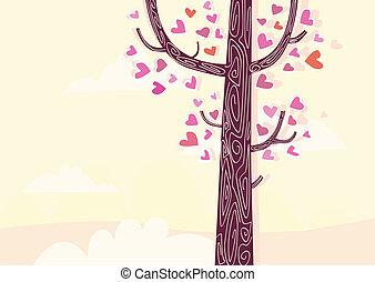 árbol, de, corazones