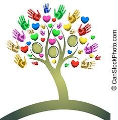 árbol, de, corazones, mano, figuras