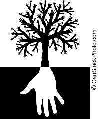 árbol, de, manos