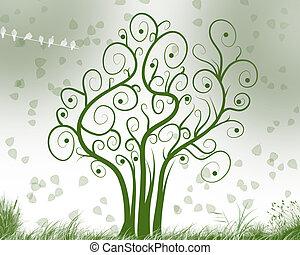 árbol, de, meditación
