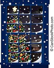 árbol de navidad, a través de ventana