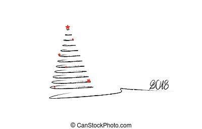 árbol de navidad, avión, dibujo