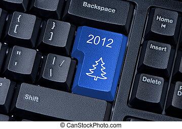 árbol de navidad, azul, botón, ordenador teclado, internet, concept.