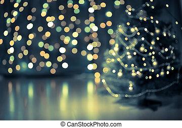 árbol de navidad, bokeh, plano de fondo