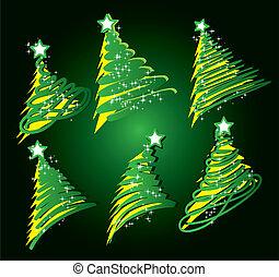 árbol de navidad, bosquejo, conjunto