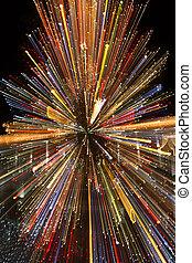 árbol de navidad, con, color, efecto ligero