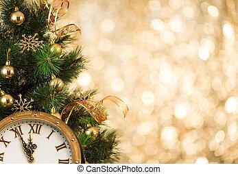 árbol de navidad, con, retro, cara de reloj