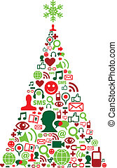 árbol de navidad, con, social, medios, iconos