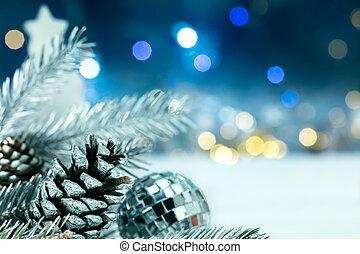 árbol de navidad de plata, decoraciones, en, confuso, guirnaldas, luces, plano de fondo
