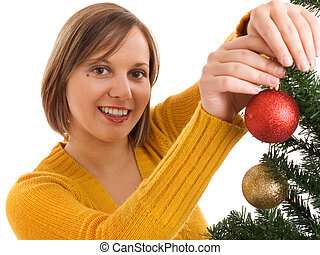 árbol de navidad decorando