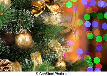 árbol de navidad, en, colorido, confuso, luz, plano de fondo