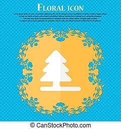 árbol de navidad, ., floral, plano, diseño, en, un, azul, resumen, plano de fondo, con, lugar, para, su, text., vector