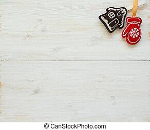 árbol de navidad, fondos, con, decoraciones de navidad, blanco, textura de madera, listo, para, su, diseño
