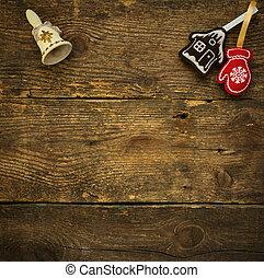 árbol de navidad, fondos, con, decoraciones de navidad, en, textura de madera, listo, para, su, diseño