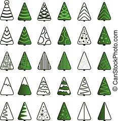 árbol de navidad, icono, conjunto