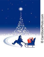 árbol de navidad, niños, mágico