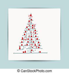 árbol de navidad, postal, diseño, con, lugar, para, su,...