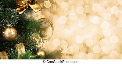 árbol de navidad, rama, con, confuso, fondo dorado