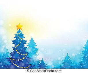 árbol de navidad, silueta, tema, 6