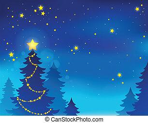 árbol de navidad, silueta, tema, 7