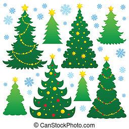árbol de navidad, silueta, tema, 9