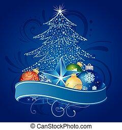 árbol de navidad, y, decoración