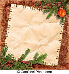 árbol de navidad, y, grunge, papel