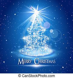 árbol de navidad, y, luz, encima, fondo azul