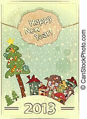 árbol de navidad, y, pequeño, casas