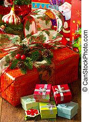 árbol de navidad, y, regalo de navidad, cajas