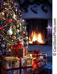 árbol de navidad, y, regalo de navidad
