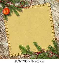 árbol de navidad, y, retro, armazón