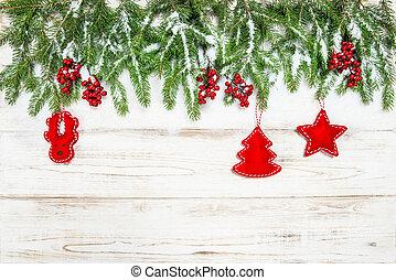 árbol de planta de hojas perennes, decoración, fondo., bayas, navidad, rojo