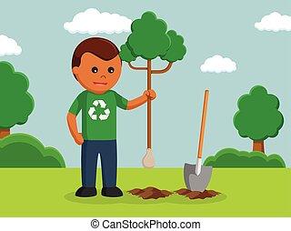 árbol de plantación, ambiental, activista, hombre africano