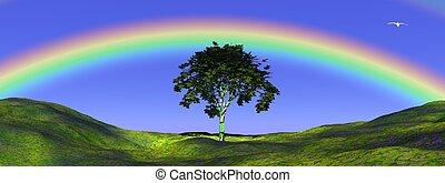 árbol, debajo, arco irirs