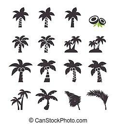 árbol del coco, icono