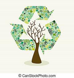árbol, desarrollo, sostenible, hecho, mano