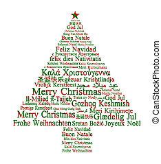 árbol, diferente, formación, feliz navidad, idiomas
