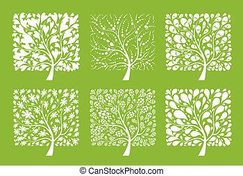 árbol, diseño, arte, su, colección