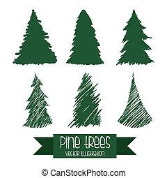 árbol, diseño, pino