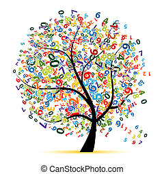 árbol, diseño, su, digital