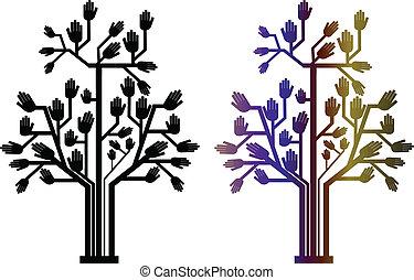 árbol, dos, mano