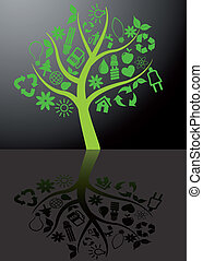 árbol, ecología, con, reflexión